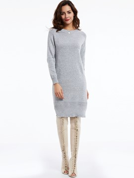 Ericdress Plain knitting Round Neck Sweater Dress