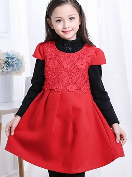 Ericdress Sleeveless Lace Pleated Girls Wool Dress