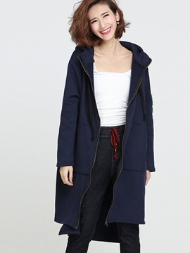 Ericdress Casual Loose Zipper Solid Color Hoodie