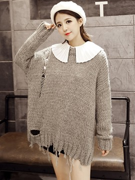 Ericdress Worn Solid Color Hollow Knitwear