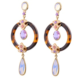 Ericdress Artificial Gemstone Inlaid Circle Design Earrings