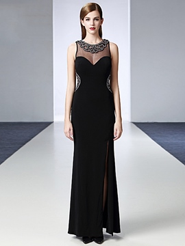 Ericdress Beaded Pearls Jewel Neck Split-Front Floor Length Evening Dress