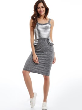 Ericdress Spaghetti Strap Stripe Patchwork Bodycon Dress