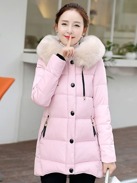 Ericdress Color Block Single-Breasted Straight Plus Size Coat