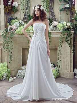 Ericdress Simple Strapless Beaded A Line Chiffon Wedding Dress
