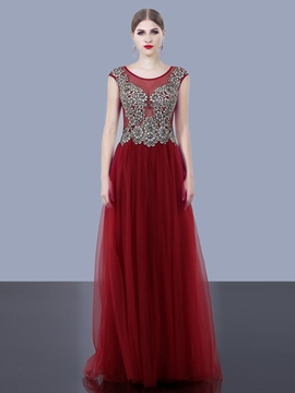 Ericdress A-Line Cap Sleeves Appliques Beaded Sweep Train Evening Dress