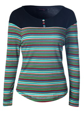 Ericdress Colorful Stripe Color Block T-Shirt