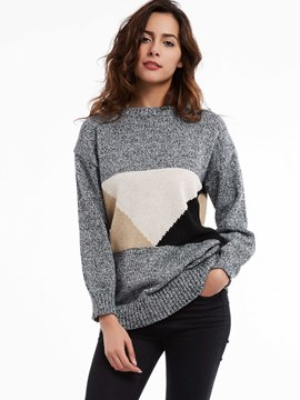 Ericdress Round Neck Color Block Drop-Shoulder Knitwear