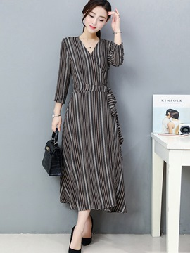 Ericdress Strip Cross V-Neck Lace-Up Split Ankle-Length Maxi Dress