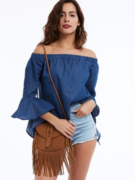 Ericdress Blue Slash Neck Flare Sleeves Blouse
