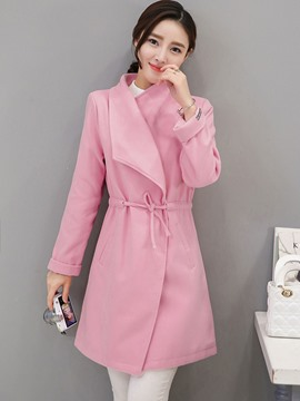 Ericdress Solid Color Turn-Down Lace-Up Slim Coat