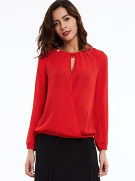 Ericdress Solid Color Long-Sleeve Chiffon Blouse