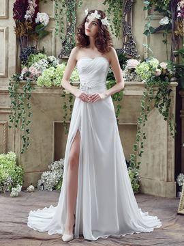 Ericdress Casual Sweetheart Split Front Chiffon Beach Wedding Dress