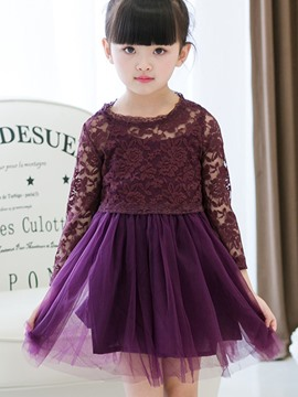 Ericdress See-Through Lace Pleated Girls Princess Dress