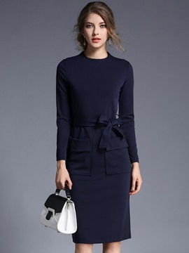 Ericdress Belt Pocket Knee-Length Plain Bodycon Dress