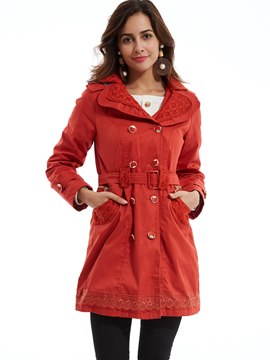 Plain Double-Breasted Hooded Trench Coat