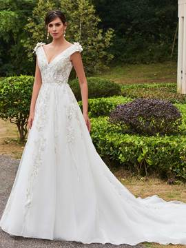 Ericdress Charming V Neck Appliques Flowers A Line Wedding Dress