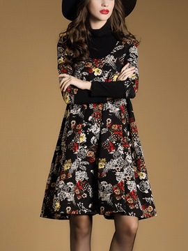 Ericdress Turtleneck Patchwork Back Square Neck Floral Print Casual Dress