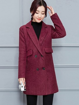Ericdress Straight Double-Breasted Polo Solid Color Coat