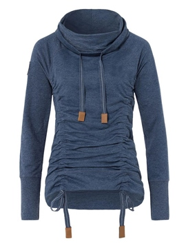 Ericdress Solid Color Casual Pleated Turtleneck Hoodie