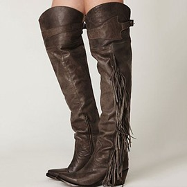 Ericdress Retro Brown Flat Combat Knee High Boots