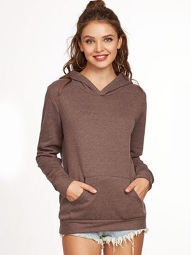 Ericdress Casual Pocket Solid Color Hoodie