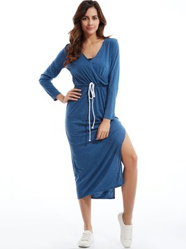Plain V-Neck Drawstring Waist Bodycon Dress