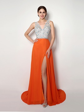 Ericdress A Line V Neck Beaded Side Slit Evening Dress