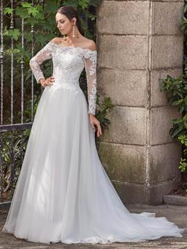 Ericdress Elegant Off The Shoulder A Line Long Sleeves Wedding Dress