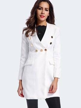 Ericdress Slim Solid Color V-Neck Trench Coat
