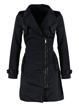 Ericdress Slim Asymmetric Zipper Trench Coat