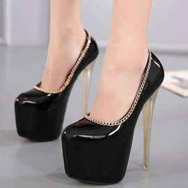 Ericdress PU Platform Metal Chains Pumps
