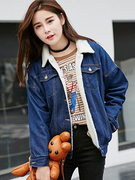 Ericdress Casual Loose Fleece Denim Outerwear