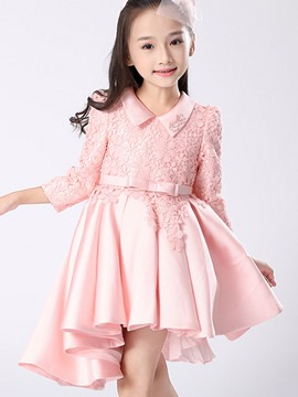 Ericdress Lace Asymmetric Pleated Bow Girls Princess Dress