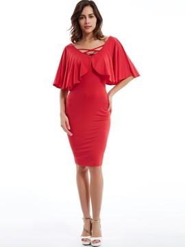 Plain V-Neck Ruffle Sleeves Bodycon Dress