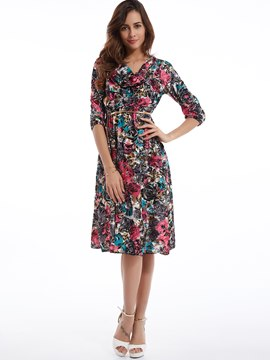 V-Neck Flower Print Day Dress