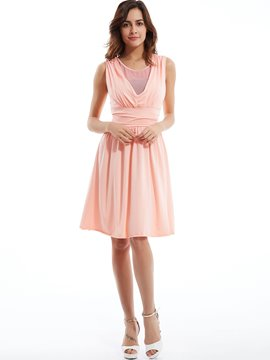 Plain Round Neck Pleated Day Dress