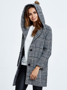 Ericdress European Plaid Straight Coat