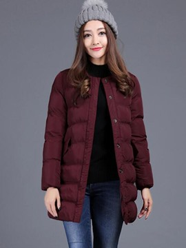 Ericdress Single-Breasted Round Neck Straight Coat