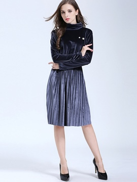 Ericdress Turtleneck Pleated Patchwork Lace-Up Casual Dress