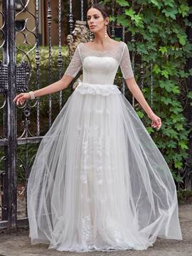 Ericdress Elegant Scoop A Line Lace Wedding Dress