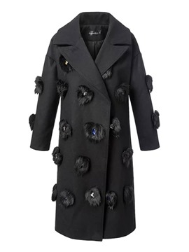 Ericdress Straight Faux Fur Patchwork Coat