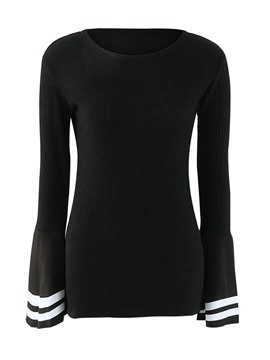 Ericdress Black Flare Sleeve Slim Knitwear