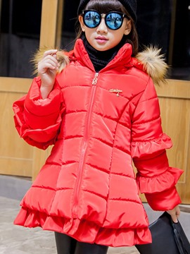 Ericdress Solid Color Falbala Fur Collar Girls Coat