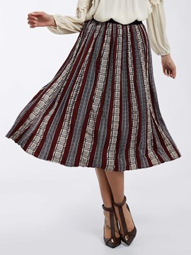 Ericdress Color Block Geometric Pattern Skirt