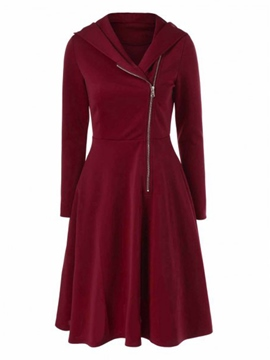 Plain Side Zipper Hooded Day Dress