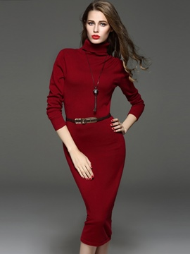 Ericdress Turtleneck Slim Belt Mid-Calf Sheath Dress
