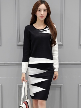 Ericdress Scoop Long Sleeve Sweater Skirt Suit