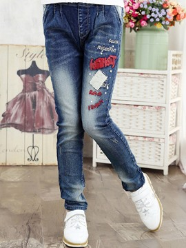 Ericdress Letter Printed Girls Jeans