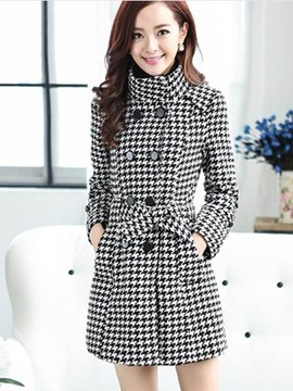 Ericdress Stand Collar Double-Breasted Slim Trench Coat